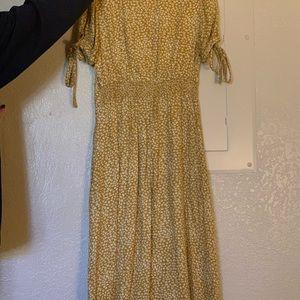 Long, marigold floral dress